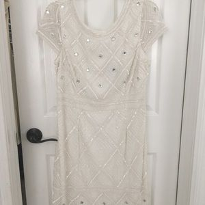 Adriana Papell short white sequined dress size 14